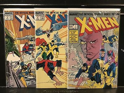 Lot of 3 Official Marvel Index to the X-Men #1 2 3 (1987 Marvel) Shipping Deal!