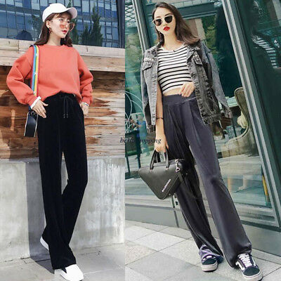 Women Autumn Winter Gray Velvet High Waist Wide leg Loose Casual Pants Trousers