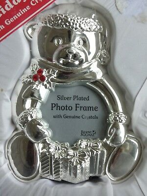 """Regent Square silver plated Christmas teddy bear frame red crystals NEW 4"""""""