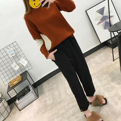 Women Winter Black Loose Corduroys High Waist Stretchy Harem Pencil Casual Pants