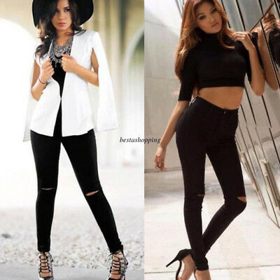 Women Black High Waist Stretchy Denim Pencil Jeans Skinny Casual Pants Jegging