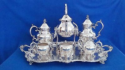 Antique Birmingham Silver on Copper Coffee & Tea Server Set With Tray