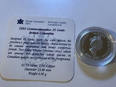 1992 British Columbia Canada .925 Silver Proof 125th Anniversary 25 Cents