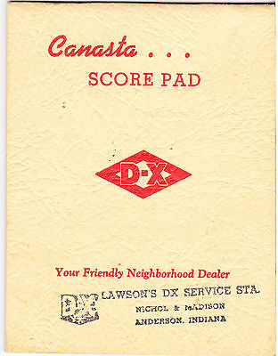 Advertisng D-X Gasoline Canasta Score Pad: Anderson Indiana