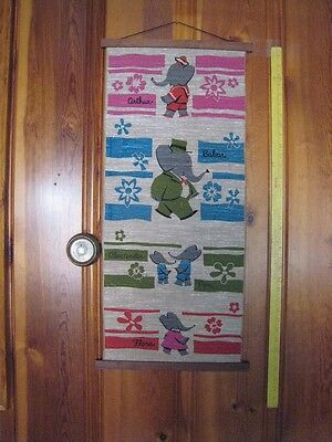 1961 Babar the Elephant Hanging Wall Banner -- Scarce