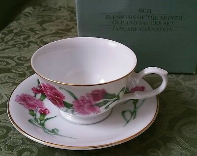 AVON January Carnation BLOSSOMS OF THE MONTH CUP AND SAUCER 1991 w/ Box