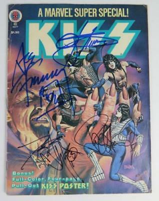 KISS Signed Autograph Marvel Comic Book by All 4 Paul Stanley, Gene, Ace & Peter