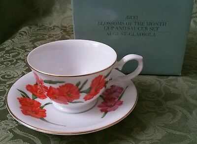 AVON August Gladiola BLOSSOMS OF THE MONTH CUP AND SAUCER 1991 w/ BOX
