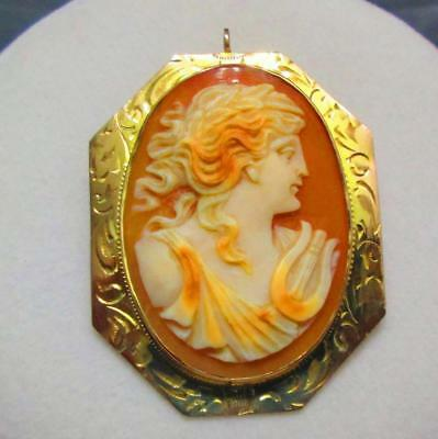 Antique Victorian 10K Yellow Gold Carved Shell Cameo Brooch Pin Necklace Pendant