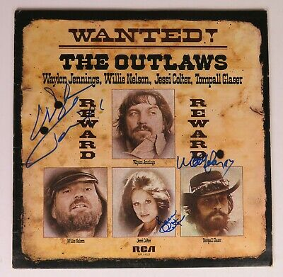 """WAYLON JENNINGS, WILLIE NELSON + Signed Autograph """"The Outlaws"""" Album LP by 3"""