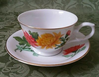 Avon November Chrysanthemum Blossoms Of The Month Cup And Saucer 1991
