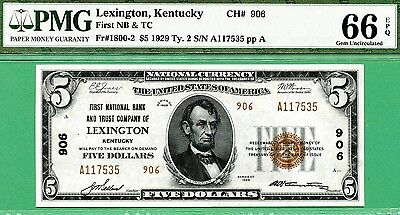 1929 $5 NBN - PMG GEM 66 with EPQ - FIRST NATIONAL B&T CO LEXINGTON KENTUCKY