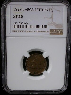 1858 Large Letters 1C Ngc Xf 40 1858 Flying Eagle Cent Penny