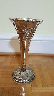 "Silver Plated Ornate Trumpet Flower Rose Vase, 10"" Tall, 4"" wide"