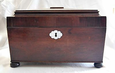 Antique Victorian Rosewood Tea Caddy Cut Glass Vase Mother of Pearl Keyhole