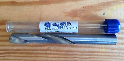"1/2"" Solid Carbide Jobber Length Drill Bit ~ USA ~ New ~ Free Shipping"
