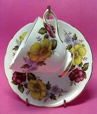 Royal Sutherland Tea Cup and Saucer Bone China Yellow Pink Blue Floral England