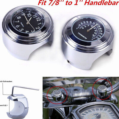 """7/8"""" to 1"""" Aluminum Alloy Motorcycle Handlebar Watch Dial Clock Thermometer Kits"""