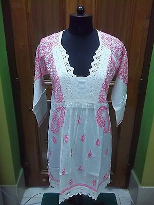 "100% Cotton M 41"" Ethnic Dress Tunic Chikan Embroidery Top Handmade Kurta Kurti"