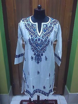 "Tunic L 42"" Ethnic 100% Malmal Cotton Handmade Top Chikan Embroidery Kurta Kurti"