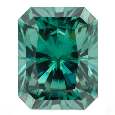 Radiant Rare Fancy Green Color Moissanite Loose Stone 7x5mm Charles & Colvard