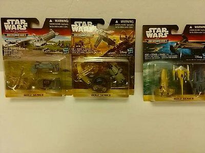 Lot 3 Star Wars MicroMachines Gold Series Clone Clash, Battle Naboo,Resistance