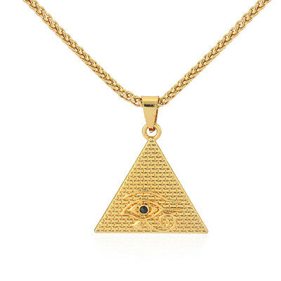 Gold Plated Egyptian Eye of Horus Pyramid Amulet Pendant Chain Necklace 28""