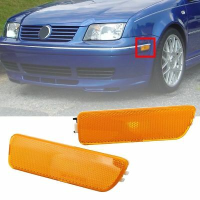 For VW GOLF JETTA MK4 1999-05 2x Front Bumper Side Marker Turn Signal Light Lamp