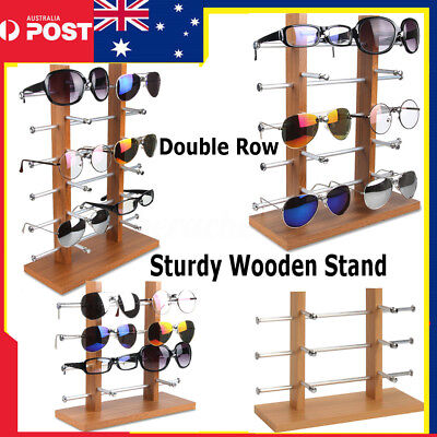 Sturdy Wooden Double Row Sunglasses Rack Display Stand Holder 3/4/5/6 Tier