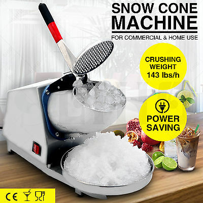 Commercial Snow Cone Machine Electric Ice Crusher Shaved Ice Maker 143LBS/h Home