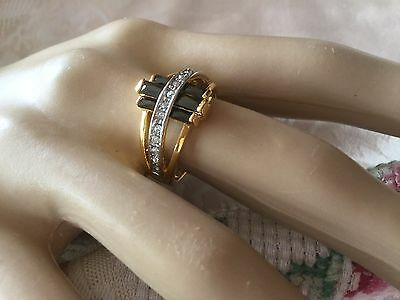 Antique Art Deco Vintage Gold Ring with Sapphire Black and White stones size 8 Q