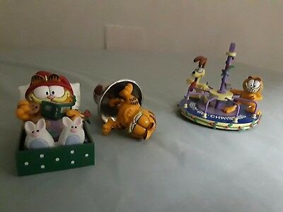 """Garfield Christmas Ornaments,""""holiday Cat-Napping"""", """"merry Christmas Go-Round""""""""r"""