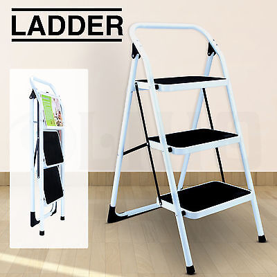 3 Step Folding Ladder Portable Non Slip Safety Tread Stepladder Kitchen Home Use