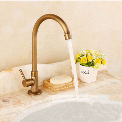 Antique Vintage Brass Bath/Kitchen Sink Faucet Swivel Single Handle Tap Home/Bar