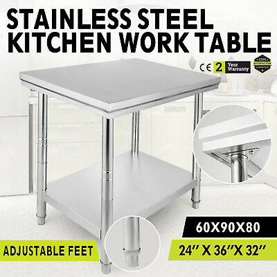 915mm x 610mm New Stainless Steel Kitchen Work Bench Food Prep Catering Table