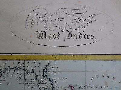 1846 MANUSCRIPT MAP West Indies Florida Texas as Mexico old borders 12 x 8 inch