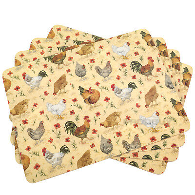 Set of Cork Placemats Table Place Settings Mats Farmyard Farm Chickens Cockerel