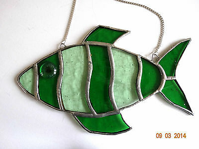 Stained Glass Green Fish Suncatcher(c)