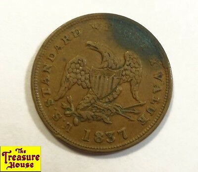 1837 Hard Times Token Half Cent Worth of Pure Copper US Standard Weight Value RB