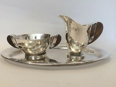 Art Deco F.W. Quist Silver Plate Milk Jug And Sugar Bowl Set On Tray