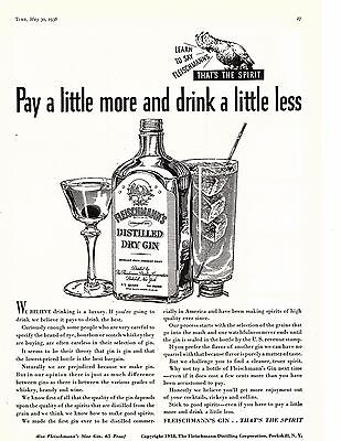1938 Ad Distilled Fleischmann's dry gin pay a little more drink a little less