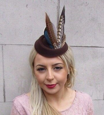 Brown Blue Pheasant Feather Pillbox Hat Hair Clip Fascinator Races Vintage 4520