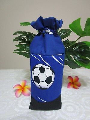 Insulated baby bottle holder-Blue soccer balls-Fits all baby bottle sizes.
