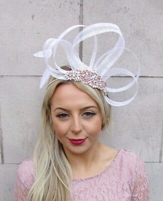 White Rose Gold Cream Silver Sinamay Feather Fascinator Headband Races Hair 4525