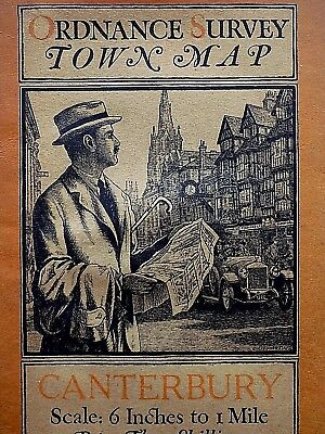 1920 Canterbury Town Map Ordnance Survey Ellis Martin Vintage Illustrated Cover