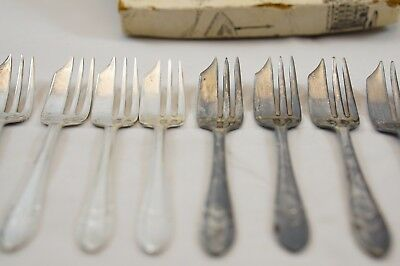 Lot of 10 Vintage EPNS Sheffield England silver plated Cake Pastry forks Org box