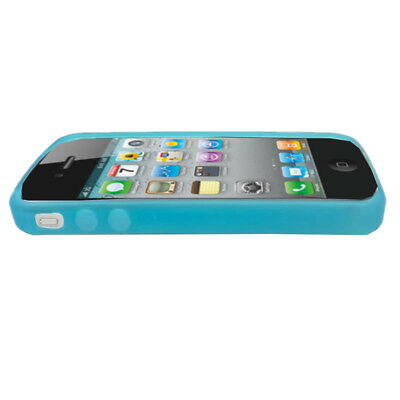 iPhone 4 4s Plastic Case Rubber Bumper Lightweight Cover Aqua Jade Green