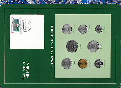 Coin sets of all nations East Germany w/card 1979-1981 UNC 5 Mark 1981 1 Mark 79