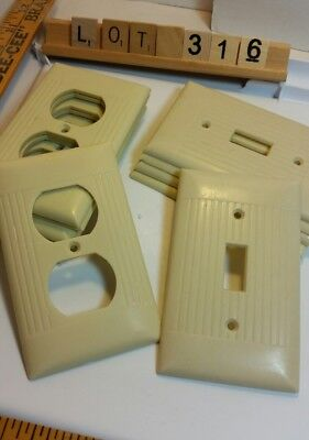 6 Vintage Ivory Bakelite Ribbed Plug covers and 5 Switch Plate Covers lot #316