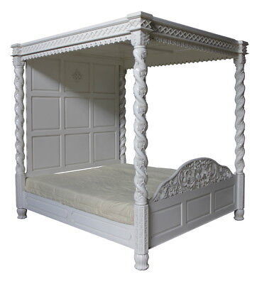 Solid Mahogany Janna Full Canopy 4 Poster Bed Antique White 4'6 5' 6' New B019P